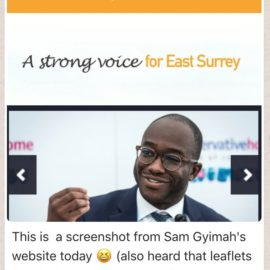 The Dame: Sam Gyimah Now Standing In East Surrey!